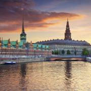 The danish Parliament at sunset