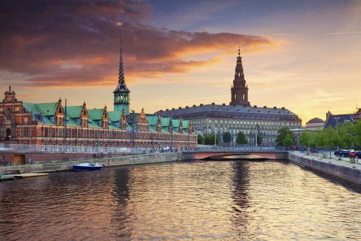 The danish Parliament at sunset